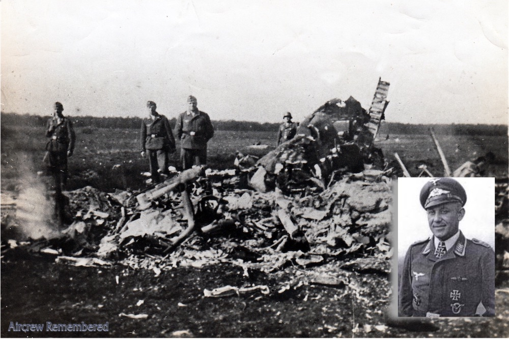 Wreckage of Whitley Z6479 (Courtesy Jeremy Nicholson) insert: Reinhard Kollack survived the war with 49 kills.
